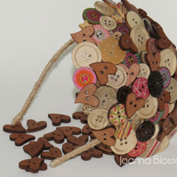 Wooden Blossom Button Fascinator