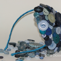 Blue Blossom Button Fascinator