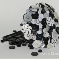 Black and White Blossom Button Fascinator