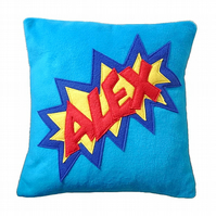 Personalised comic style fleece cushion