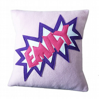 Personalised comic style fleece cushion (pink)