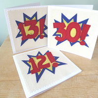 Appliqued Comic style AGE Birthday cards