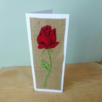 Applique Red Rose textile card, Valentines card or anniversary, birthday card