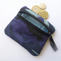 Camouflage blue coin purse, zipped card pouch camo