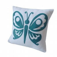 White and Teal Butterfly cushion