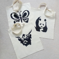 Reusable appliqued shopping tote bag, panda cow butterfly, chicken, Chihuahua