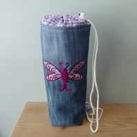 Embroidered  Dragonfly denim drink bottle bag