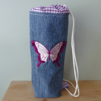 Embroidered Butterfly denim drink bottle bag