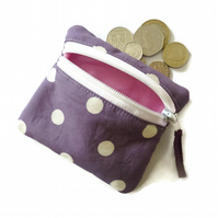 Purple spotty coin purse, zipped card pouch