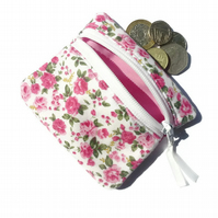 Pink ditsy rose coin purse, zipped card pouch