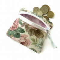 vintage rose coin purse, zipped card pouch