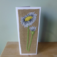Applique Daisy  textile card