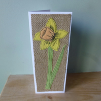 Applique Daffodil  textile birthday card or mother's day card or thankyou card