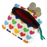 Heart coin purse, change purse, zipper pouch