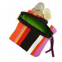 Orange stripey coin purse, zipped pouch, deck chair pattern