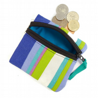 Stripey coin purse, zipped pouch, striped deck chair pattern