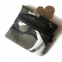 Camouflage grey black coin purse, zipped card pouch camo