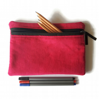 Pencil case  zipper pouch  cosmetic bag Pink corduroy and turquoise