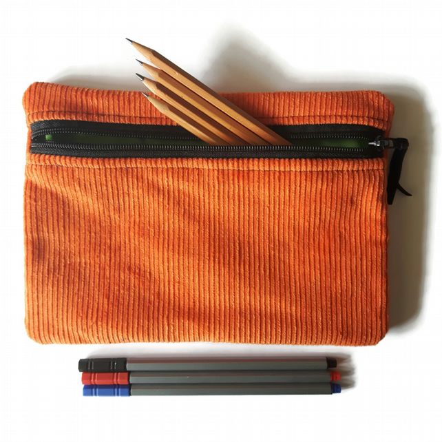 Pencil case  zipper pouch cosmetic bag Orange corduroy and lime