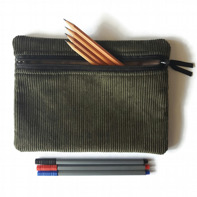 Pencil case  zipper pouch cosmetic bag Olive green corduroy