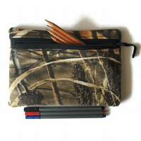 Pencil case, zipper pouch, cosmetic bag, khaki Real Tree camo
