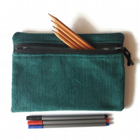 Pencil case  zipper pouch cosmetic bag Teal corduroy and duck egg blue