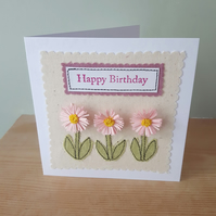 Pale Pink daisy applique and quilled birthday card