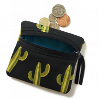 Cactus cacti coin purse, change purse, zipped card pouch