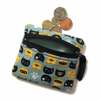 Kitty Cat coin purse, change purse, zipped card pouch