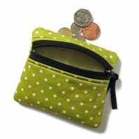 Green spotty coin purse, change purse, zipped card pouch
