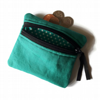 Turquoise coin purse, Linen change purse, zipped card pouch