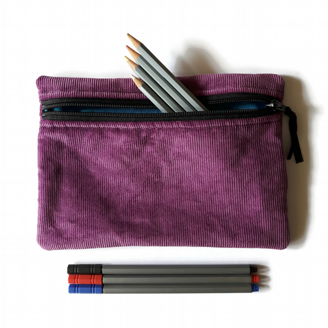 Pencil case  zipper pouch cosmetic bag Purple corduroy and turquoise