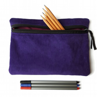 Pencil case  zipper pouch cosmetic bag purple corduroy