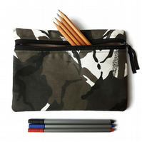 Pencil case  zipper pouch cosmetic bag black, grey, white camouflage camo