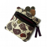 Bird coin purse, change purse, zipped pouch NEW size