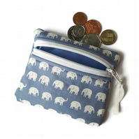 Blue elephant coin purse, zipped card pouch