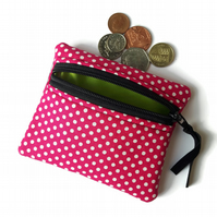 Pink and white spotty coin purse, change purse, zip pouch