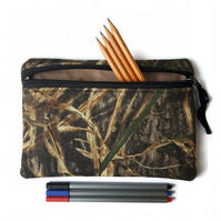 Pencil case zipper pouch cosmetic bag Mossy oak camouflage camo