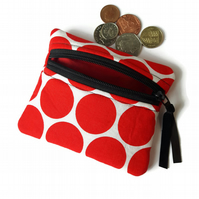 Red circles coin purse , change purse