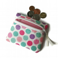 Pastel spot coin purse, change purse, zipper pouch, coin pouch