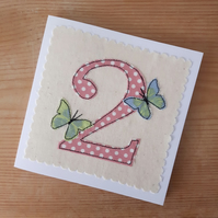 Appliqued textile girl's age 2 two Birthday card