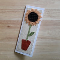 Applique sunflower textile card