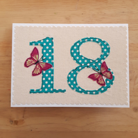 Age 18 birthday card, applique textile butterfly 18th anniversary