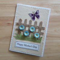 Mother's day card with butterfly and quilled blue flowers