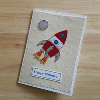 Space Rocket birthday card