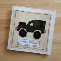 Land Rover jeep applique birthday card