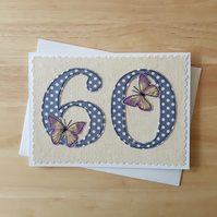 age 60 birthday card, 60th anniversary card, number