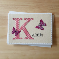 Personalised Monogram letter card with applique butterflies, name card,