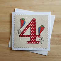 age 4 card, textile birthday Boy's kite card