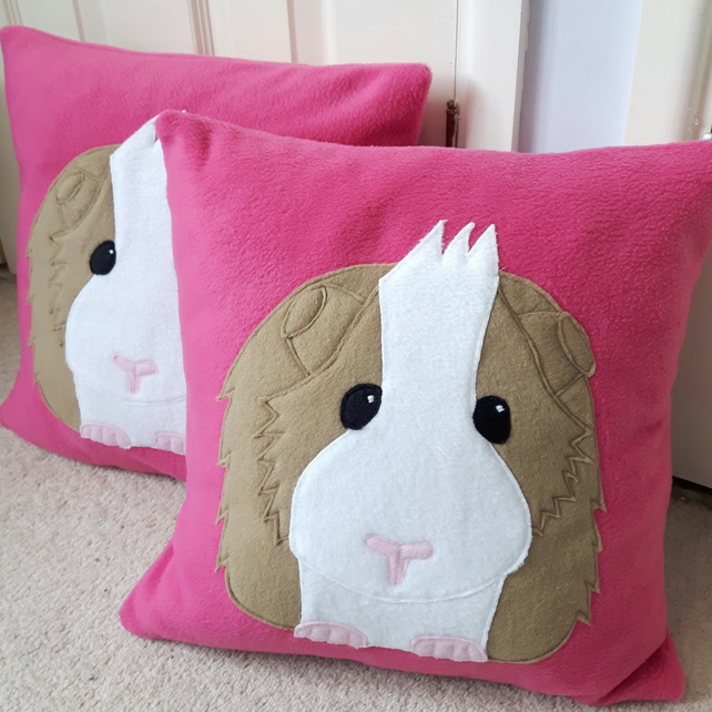 Pink Guinea pig cushion